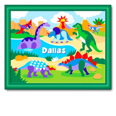 Olive Kids Dinosaur Land Personalized Print with Dark Green Wood Frame