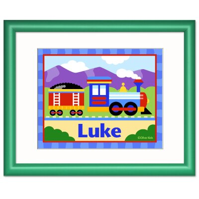 Olive Kids Train Personalized Print with Frame