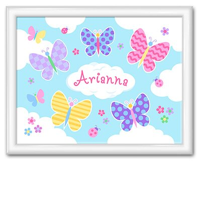 Butterfly Garden Personalized Print with Gloss White Frame