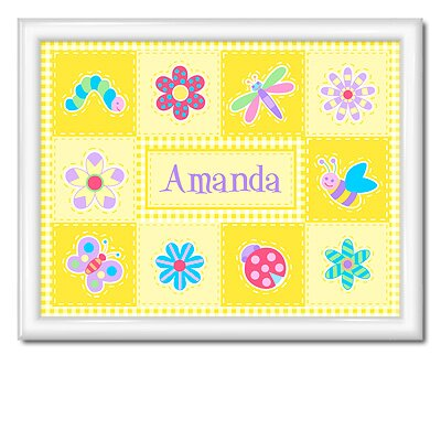 Flower Land Large Personalized Print with Gloss White Frame