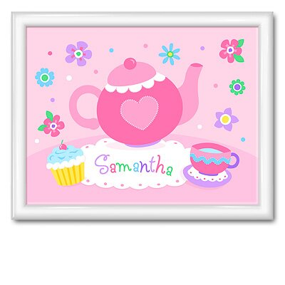 Olive Kids Tea Party Large Personalized Print with Gloss white Frame