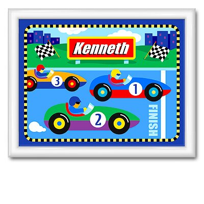 Olive Kids Vroom Large Personalized Print with Gloss White Frame