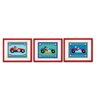 Olive Kids Vroom Print with Red Frame (Set of 3)