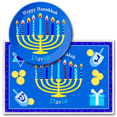 Hanukkah Personalized Kids Meal Time Plate Set