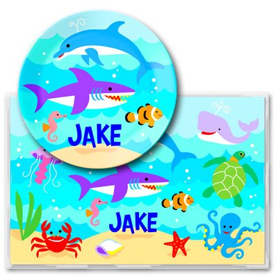Ocean Personalized Meal Time Plate Set