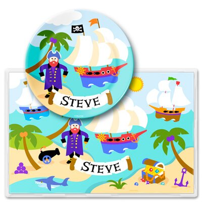 Pirates Personalized Meal Time Plate Set