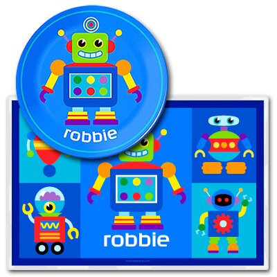 Olive Kids Robots Personalized Meal Time Plate Set