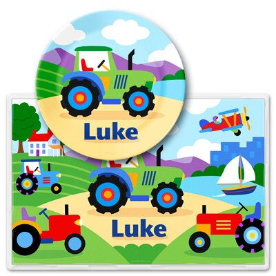 Trains, Planes and Trucks Personalized Meal Time Plate Set