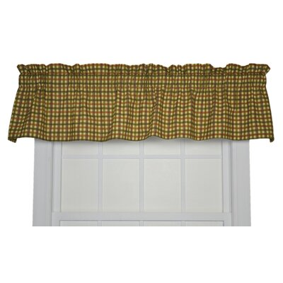 Ellis Curtain Charlestown Check Cotton Rod Pocket Tailored Valance Window Curtain