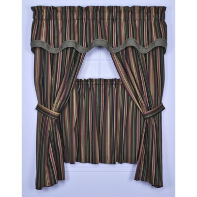 Ellis Curtain Montego Stripe Tailored Panel Pair Curtains with Tiebacks in Black