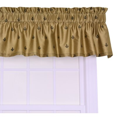 Ellis Curtain Fleur Di Lis Faux Silk Rod Pocket Tailored Valance Window Curtain