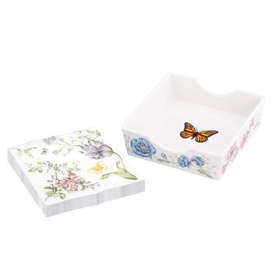 Lenox Butterfly Meadow Napkins Box with Pair Printed Napkins