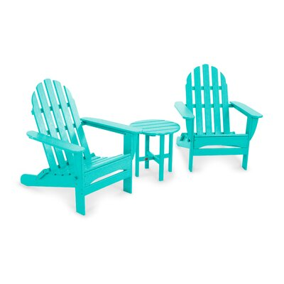 POLYWOOD® Classic Folding 3 Piece Adirondack Seating Group