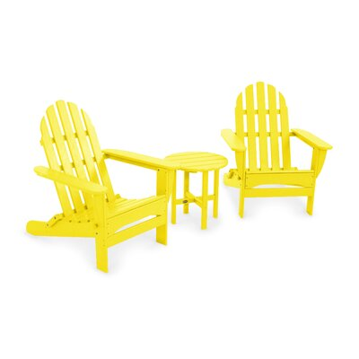 POLYWOOD® Classic Folding 3 Piece Adirondack Seating Group