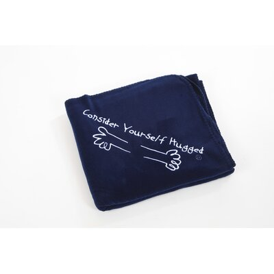Fleece Throw in Navy with White Hug