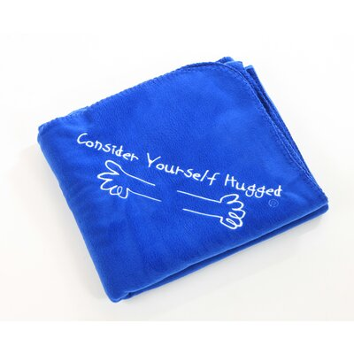 Consider Yourself Hugged Fleece Throw in Royal with White Hug