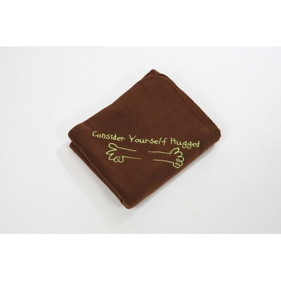 Consider Yourself Hugged Fleece Throw in Chocolate with Lime Hug