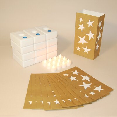 Luminarias 12 Count Battery Operated Luminary Kit with Gold Stars Design