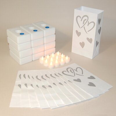 Luminarias 12 Count Battery Operated Luminary Kit with Silver Hearts Design