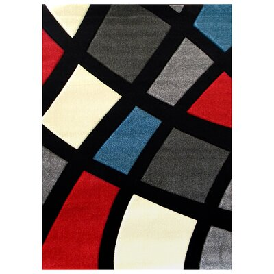Studio 606 Black Geometric Color Block Design Rug