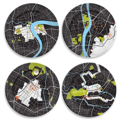 "notNeutral City on a Plate 12"" Dinner Plate Set (Set of 4)"