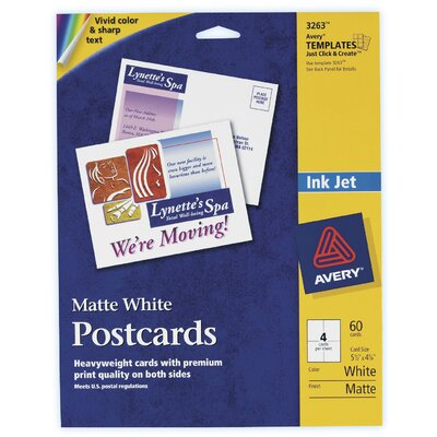"""Avery 60 Count 5-1/2"""" x 4-1/4"""" Matte PC60 Postcard in White"""