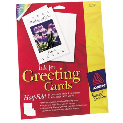 "Avery 20 Count 5-1/2"" x 8-1/2"" Ink Jet Blank Greeting Card"