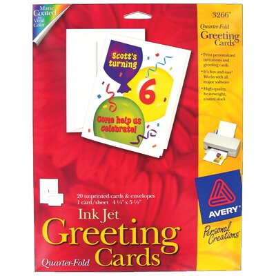 "Avery 20 Count 4-1/4"" x 5-1/2"" 3266 Quarter-Fold Blank Greeting Card"