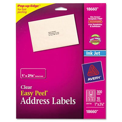 Avery Easy Peel Inkjet Mailing Labels, 300/Pack
