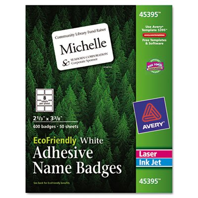 Avery Ecofriendly Name Badge Labels, 400/Box
