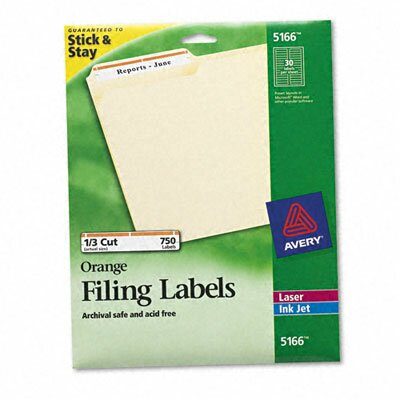 Avery Permanent Adhesive Laser/Inkjet File Folder Labels, 750/Pack