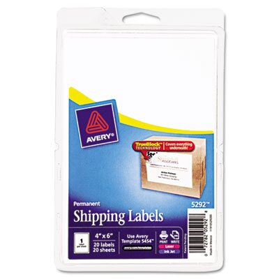 Avery Laser/Inkjet Shipping Labels with Trueblock Technology, 20/Pack