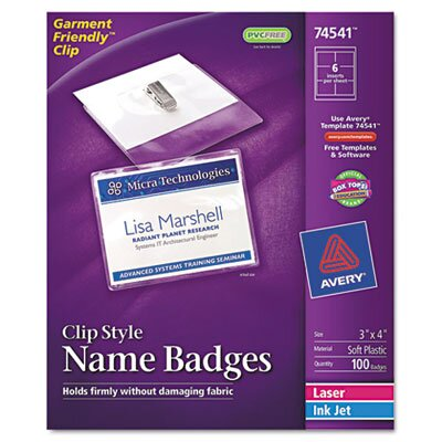 Avery Badge Holders with Laser/Inkjet Inserts, Top Loading, 3 x 4, 100/Box