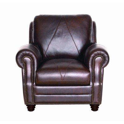 Luke Leather Solomon Italian Leather Chair and Ottoman