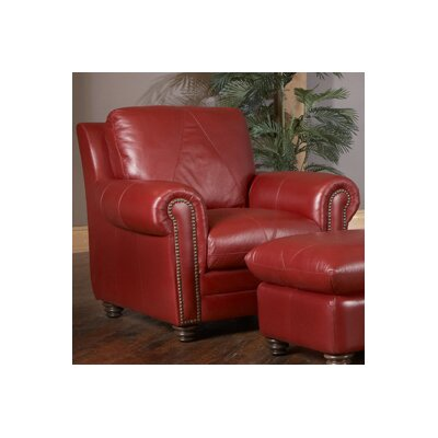 Weston Italian Leather Chair and Ottoman