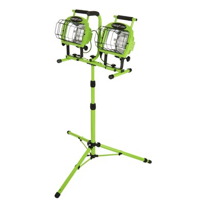 Designers Edge Halogen Twin Head Tripod Work Light with Weatherproof Switch