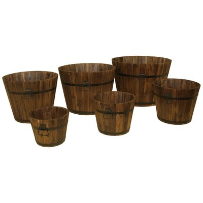 Whiskey Barrel Round Pot Planters (Set of 6)