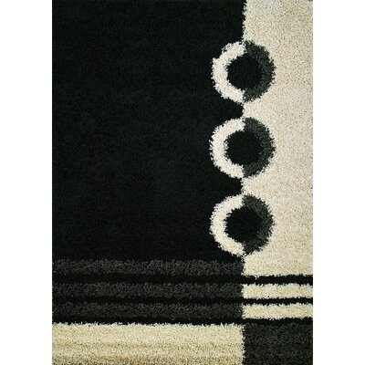 Shaggy Rings Black Rug