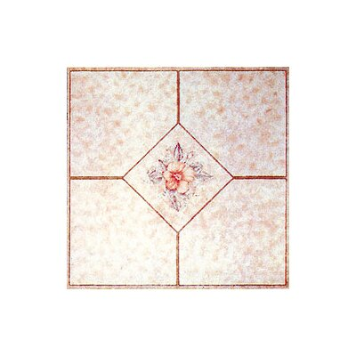 "Home Dynamix 12"" x 12"" Vinyl Tile in Machine Light Pink Flower"