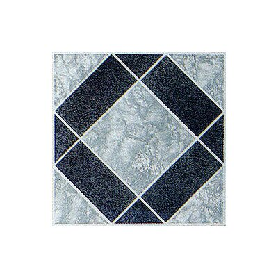 "Home Dynamix 12"" x 12"" Vinyl Tile in Black / Grey Diamond"