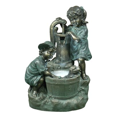 Alpine Old Fashioned Pump Fountain with 2 Kids and LED Lights