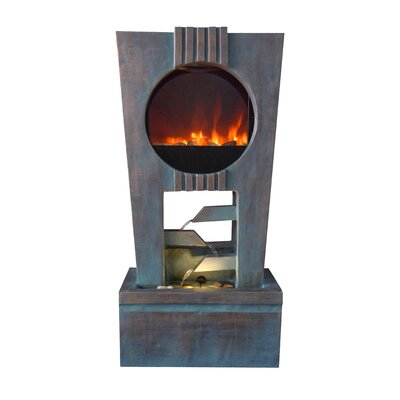Ultra Fire Fiberglass Cascading Fountain with LED Light