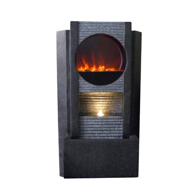 Alpine Ultra Fire Fiberglass Modern Fountain with LED Light