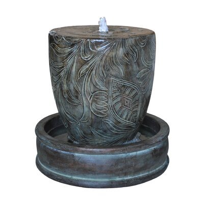 Fiberglass Modern Floral Fountain with LED Light