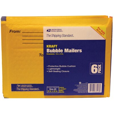 "Lepages 6"" x 9"" Manila Kraft USPS Bubble Mailer (Pack of 6)"