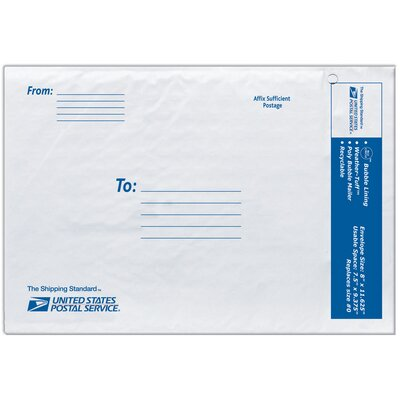 "Lepages 8"" USPS Poly Bubble Mailer in White"