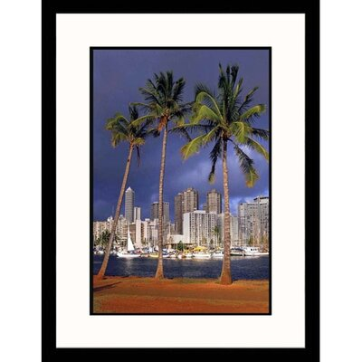 Cityscapes 'Honolulu Palm Trees in Hawaii'' by Scott Berner Framed Photographic Print