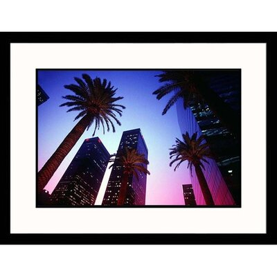 Cityscapes 'Palm Trees at Night in California' by E.J. West Framed Photographic Print