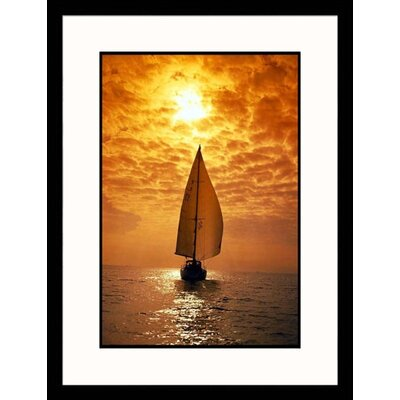 Great American Picture Seascapes 'Sailboat At Sunset' by Roger Smith Framed Photographic Print