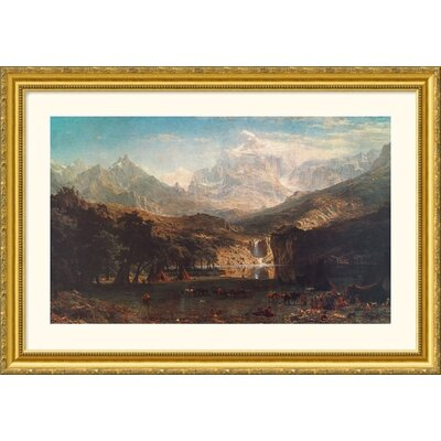 Great American Picture The Rocky Mountains, 1863  Gold Framed Print - Albert Bierstadt